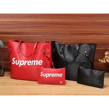 LV x Supreme Women Shopping Bag Tote Handbag Wallet Purse Two Piece Suit