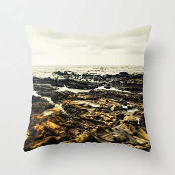 Samara Reef - Throw Pillow Cover, Light Gray and Tan Brown Accent, Beach Boho Chic Surf Style Furnishings. In 14x14 16x16 18x18 20x20 26x26