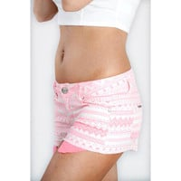 Neon Pink Aztec Print Cut Off Shorts