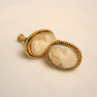 Dainty Cameo Earrings Small Carved Shell Cameo Clip on Earrings