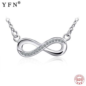 925 Sterling Silver Necklace Women Infinity Love Pendants Necklaces Women Jewelry CZ Crystal Bowknot Collares Gifts Love GNX0060