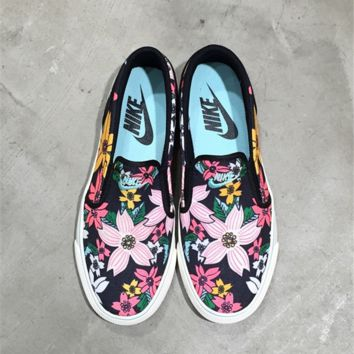 Nike Women Men Flower Print Classic Canvas Leisure Shoes