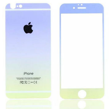 Blue Gradient Toughened Glass Screen Protector for iPhone 6s 6plus Gift