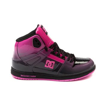 Womens DC Rebound Hi LE Skate Shoe, Black Pink Fade | Journeys Shoes