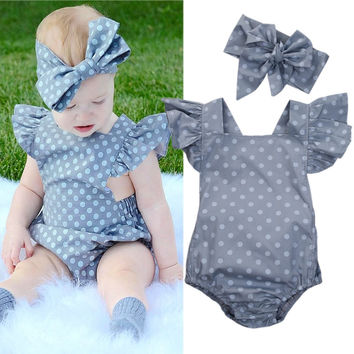 NEW Toddler Baby Girls Dot Bodysuits Clothes Tops Ruffles Sunsuit Jumpsuit Head bands Outfits Summer Set 0-18M