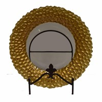 Splendid Round Glass Charger Plate, Gold-EN37020