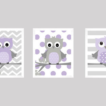 Lavender and Gray Owls on Branch, CUSTOMIZE YOUR COLORS, 8x10 Prints, set of 3, Stripes, nursery decor nursery print art baby room decor