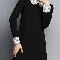 Simple Flat Collar Long Sleeve Spliced Dress