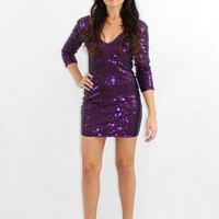The Showstopper Purple Sequin Dress