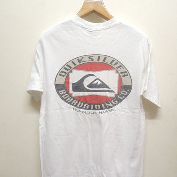 25% SALES ALERT Vintage 90's The Quiksilver Boarding Co T Shirt Sport Street Wear Swag Top Tee Surf Size M