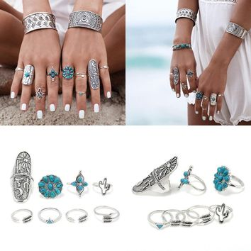Nine Piece Set Bohemian Vintage Style Silver Stack Rings Set