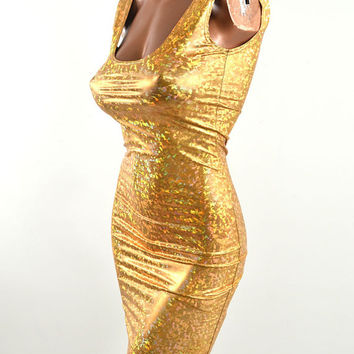 Gold Shattered Glass Holographic Spandex Bodycon Clubwear Tank Mini Hologram Party Dress -E7539