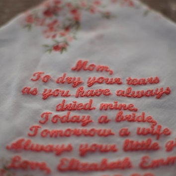 Personalized Wedding Handkerchief - Custom Embroidery, Beautiful Bridal Vintage Hankies Embroidered to order, Personalised