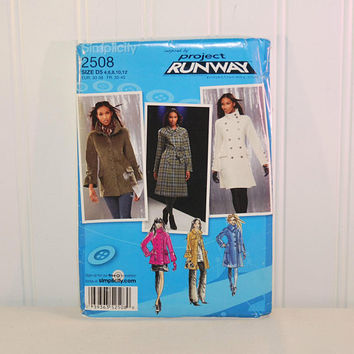 Simplicity 2508 Misses' & Misses' Petite Coat or Jacket Pattern (c. 2009) Misses', Misses' Petite Sizes 4-12, Project Runway, Misses' Coat