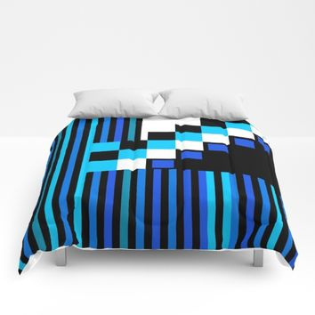 Playing with Colors | Shapes | Black and White | I Feel Blue Comforters by Azima