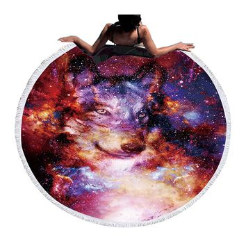 BeddingOutlet Wolf Round Beach Towel Adults With Tassel Circle Blanket Blanket Yoga Mat Tapestry