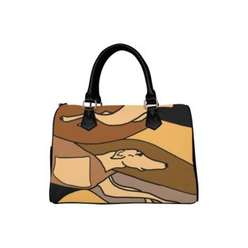 Personalized Women Bag Awesome Racing Greyhound Dogs Abstract Art Boston Top Handbag