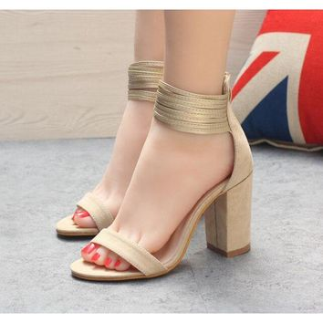 Suede Middle Chunky Heel Peep-toe Ankle Strap High Heels Sandals