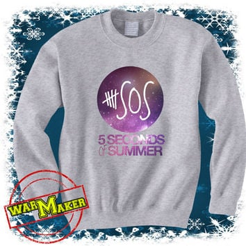 5 seconds of summer galaxy logo shirt 5 sos shirt 5sos sweatshirt sweater white 5SOS-1S