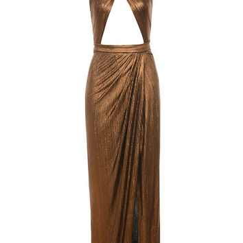 Clothing : Max Dresses : 'Laurelle' Bronze Metallic Cross Front Maxi