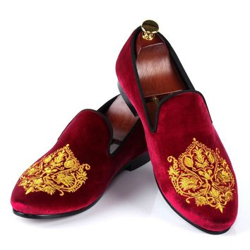 Harpelunde British Style Dress Shoes Mens Burgundy Velvet Slippers Comfortable Loafers Size 7-13