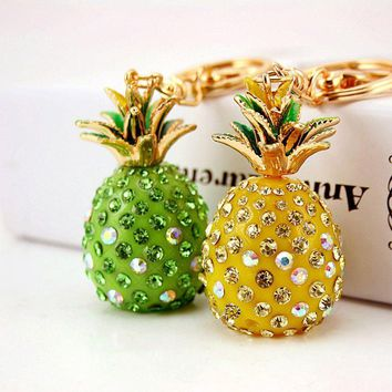 Fruit Pineapple Crystal Keychains