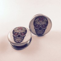 Stainless Steel Sugar Skull Screw Fit Double Flare Plug Pair 5mm to 20mm (5/8G)
