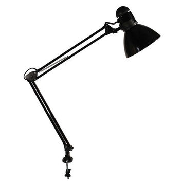 "ledu corporation swing arm lamp, 34""h, 100w incandescent bulb, clamp, black"