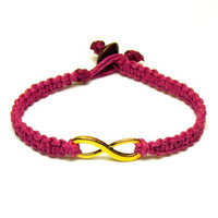 Dark Pink Infinity Bracelet, Gold Tone Charm, Macrame Hemp Jewelry for Best Friends or Couples