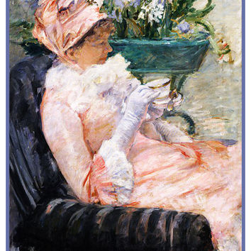 Enjoying a Cup of Tea by American Impressionist Artist Mary Cassatt Counted Cross Stitch or Counted Needlepoint Pattern