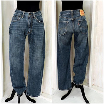 Vintage Levis 505 30 X 29 /  LEVI'S  high waisted straight jeans / Mens Womens Levi Strauss dark wash denim jeans
