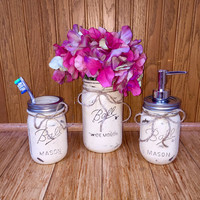Mason Jar Bathroom Set, Bathroom Decor, Bridal Shower Gift, Wedding Gift, Mason Jar Soap Dispenser, Country, Housewarming, Gift