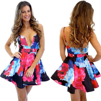 Floral Printing Straps Padded Short Dress