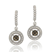 Sterling Silver 1/10ct TDW Champagne Diamond Round Dangle Hoop Earrings