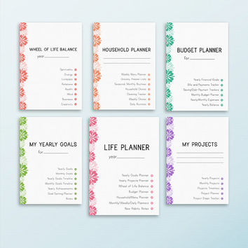 LIFE PLANNER Printable A4 Size Home Management Inserts Daily Weekly Monthly Project Menu Budget Yearly goals. Instant Download. 63 pages