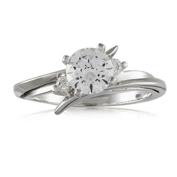 Vivadore Bypass Three Stone Diamond Engagement Ring