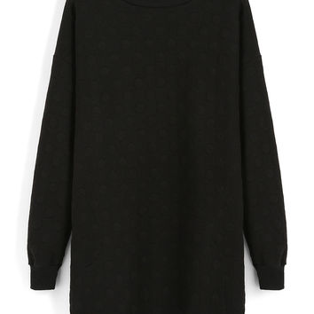 Black Slit Long Sweatshirt