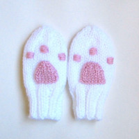 Hand Knit Paw Print Baby Mittens 3 to 12 Months - White Kitten Paw Print Thumbless Mitts Infant Baby Girl - Knit Paw Mittens Baby Mittens