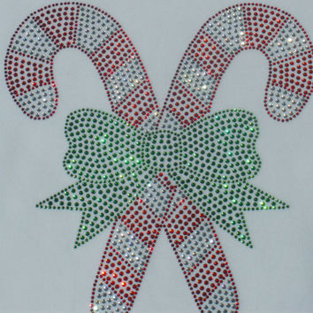 "HUGE 8.39"" tall crossed CANDY CANES Christmas rhinestone iron on transfer for womens t-shirt"