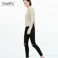 FinalFit Black High Waist Ripped Jeans Women, High Strench Pencil Skinny Jeans Pants