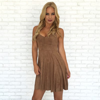 Fell In Love Skater Dress In Camel
