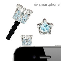 Plug Apli Shiny Crown Earphone Jack Accessory (Silver x Aquamarine#202)