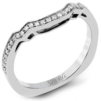 Simon G. Curved Prong Set Diamond Wedding Ring