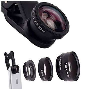 180° Fisheye Lens + 0.67x Wide Angle Lens + 10x Macro Lens Universal 3 in1 Camera Lens Kit