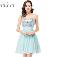 Real Picture Silver Sequined A Line Cocktail Dresses 2016 Mint Green Sweetheart Short Homecoming Party Dress Vestido Curto Cheap