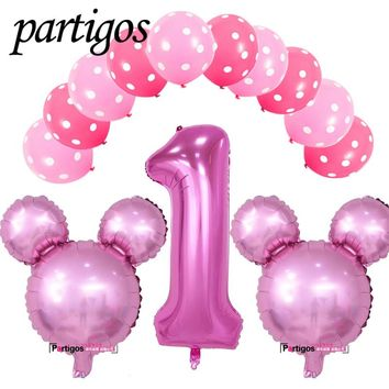 13pcs/lot mickey minnie mouse number 1 foil balloon helium latex globos baby shower birthday party decoration supplies kids toys