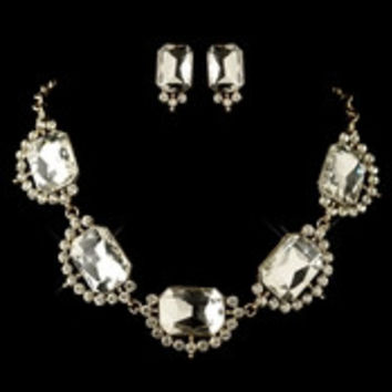 Gold Clear Radiant Rhinestone Jewelry Set 4210