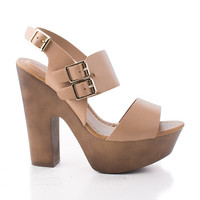 Rudy11 Natural Pu by Breckelle's, Natural PU Strappy Multi Buckle Faux Wooden Platform Chunky Heel Sandals