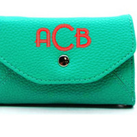 Monogrammed IPhone 5 Leatherette Wristlet Walet In 5 Color Options
