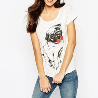 White Bow Dog Print T-Shirt
